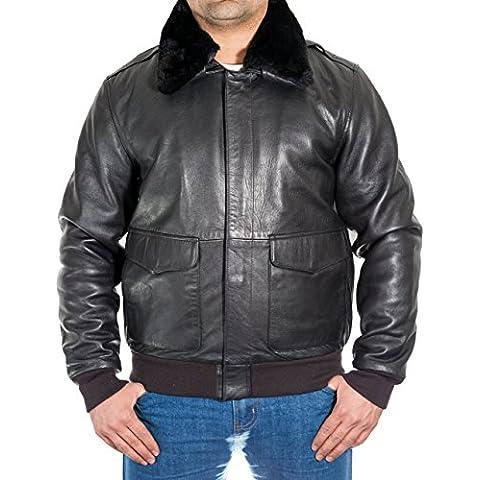 Para hombre Negro A2 del piloto del bombardero chaqueta de vuelo con piel de oveja de cuello