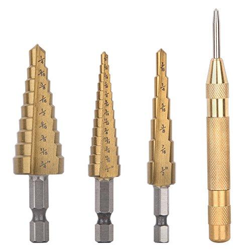 "Preisvergleich Produktbild Fortag 3 tlg HSS- Stufenbohrer HSS Hex Shank Pagoda Stufenbohrer 1/4""-3/4"" 3/16""-1/2"" 1/8""-1/2 mit 5 zoll Automatic Center Punch"