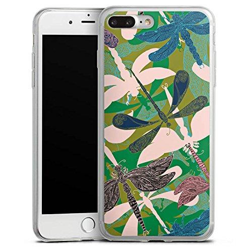 Apple iPhone 8 Plus Slim Case Silikon Hülle Schutzhülle Liebellen Blumen Muster Silikon Slim Case transparent