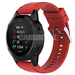 Tradico Silicone Gel Band Strap & Chrome Clasp for Garmin Fenix 5X Sport Watch Red