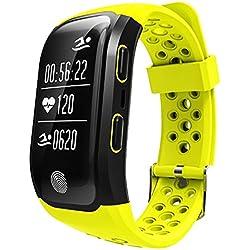 NEWBEN Reloj Pulsera Actividad Inteligente Deportiva GPS Incorporada/Smartband Ritmo Cardíaco / Monitor de Sueño Sedentario Recordatorio Podómetro IP68 a Prueba de Agua (Amarillo)