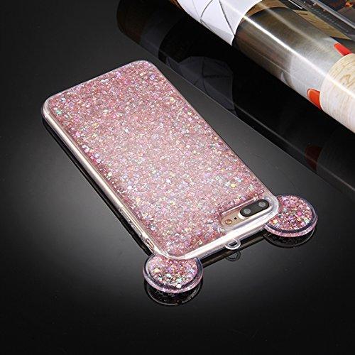 BING Für iPhone 7 Plus Glitzer Powder Mouse Ohr Soft TPU Schutzhülle mit Sling Hole BING ( Color : Pink ) Pink