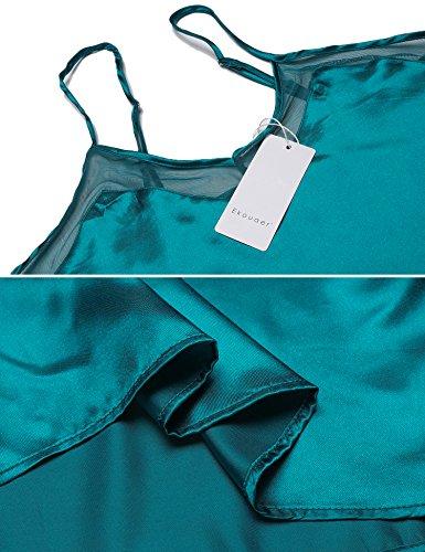 Ekouaer Damen Satin Schlafanzug Sexy V-Ausschnitt Nachtwäsche Träger Nachthemd Spitze Babydoll Pyjama Negligee Dessous Grün601
