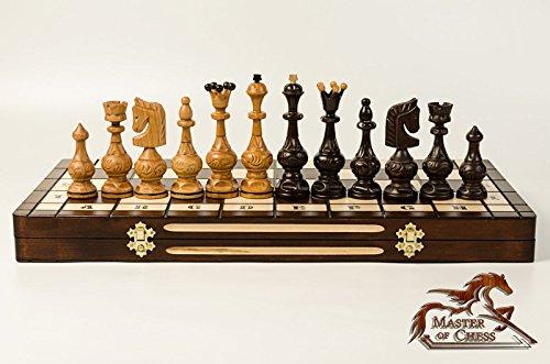 Luxus '' SALVATOR '' Kirschholz Schachspiel 55x55cm! Superb Schachbrett & Handgeschnitzte Schachfiguren