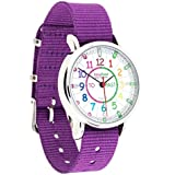 EasyRead Time Teacher Children's Watch, 'Minutes Past' and 'Minutes To', Rainbow Colours / Purple Strap