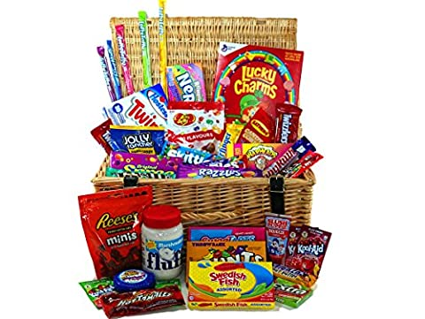 Supersized American Candy Hamper FREE UK DELIVERY - A beautiful quality wicker hamper filled with the very best in American sweets, American Food and American Chocolates and gum! An incredible luxury hamper selection with our bestselling American sweets and treats. The perfect sweet gift hamper for anyone who loves American Candy!