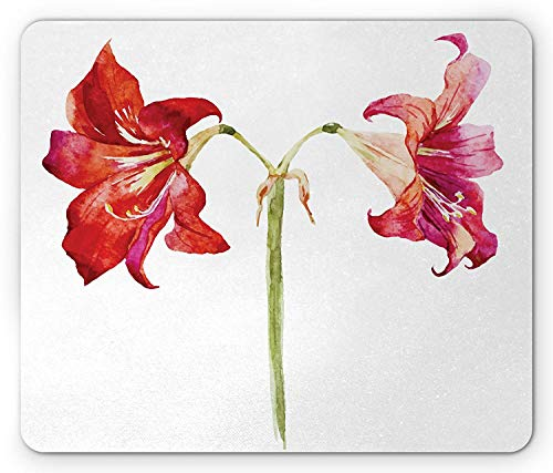 Flower Mouse Pad, Watercolor Style Print Tulips Lilacs Summer Spring Time Mothers Day Flower Image, Standard Size Rectangle Non-Slip Rubber Mousepad, Red and Pink