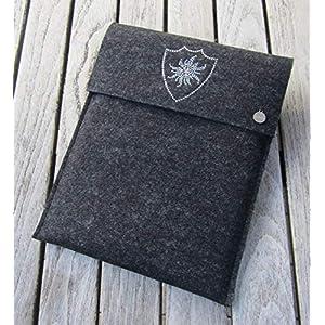 zigbaxx Tablet Hülle EDELWESS Case Sleeve Filz u.a. für iPad 9.7, iPad Pro 9,7/10,5/11 Zoll (2018), iPad mini 2/3/4, iPad Air – 100% Wollfilz – pink schwarz beige grau braun – Geschenk Weihnachten