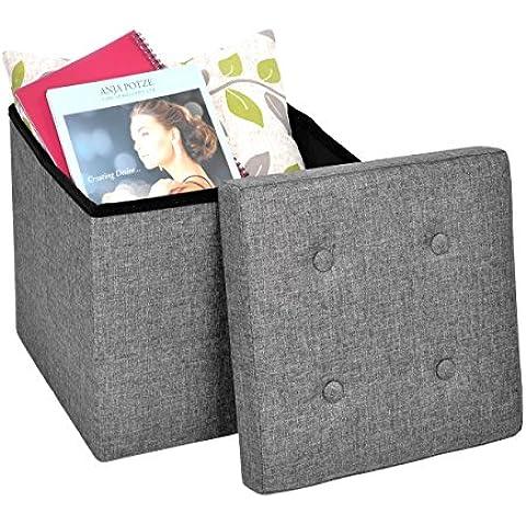 Harima Camelot - Puf Otomana plegable y reposapiés, con espacio para almacenar mantas o juguetes, 38 x 38 x 38 cm, carga máxima 300 kg, lino de imitación, color gris