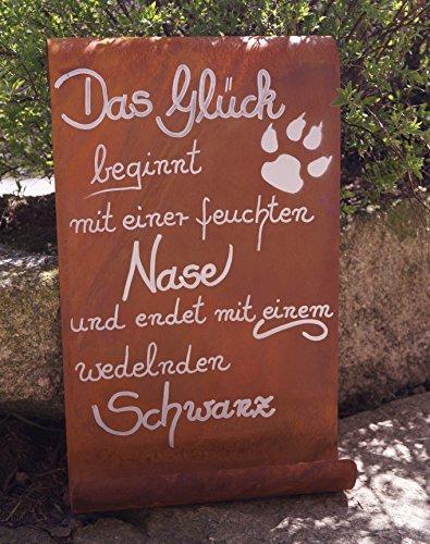 Edelrost Tafel Das Glück beginnt mit einer feuchten Nase...Haustier Garten Terrasse Schild Spruch Hund Geschenk Text Deko