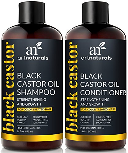 ArtNaturals Schwarzes Rizinusöl Shampoo und Conditioner - (2 x 16 Fl Oz / 473ml) - Set mit Black Castor Oil aus Jamaika - Für Trockenes, Brüchiges, Dichtes, Lockiges und Gefärbtes Haar - Sulfat Frei