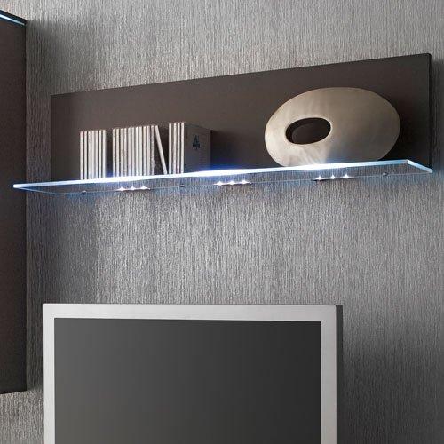 Anbauwand 5-tlg. Hochglanz grau, 2 x TV-Element, 3 x Hängeschrank, 1 x Glasbodenpaneel, Mindestbreite: ca. 240 cm, Tiefe: ca. 40 cm - 3
