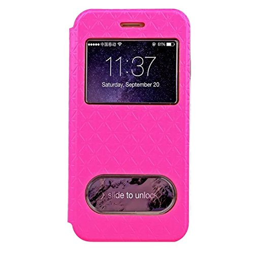 iPhone Case Cover Quadrat-Diamant-Gitter-Muster PU-lederner Fenster-Fall-weicher TPU Abdeckungs-Standplatz-Fall mit Karten-Schlitz für IPhone 6 6s Plus ( Color : Purple , Size : Iphone 6S Plus ) Rose Red