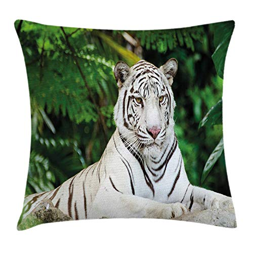 Tiger Throw Pillow Cushion Cover, Albino Bengal Cat Sitting on a Rock in Forest Southeast Asia Indigenous Species, Decorative Square Accent Pillow Case, 18 X 18 inches, Fern Green White Albino Leopard