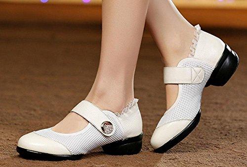 SHIXR Chaussures de danse pour dames Chaussures en cuir pour femmes respirantes blanc