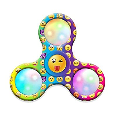 Fingertip Gyro Flywheel Toy,Emoji LED Light Fidget Hand Tri-Spinner Stress Relief Manipulative Play Toy Lanspo