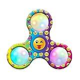 Fingertip Gyro Flywheel Toy, Emoji LED Light Fidget Hand Tri-Spinner
