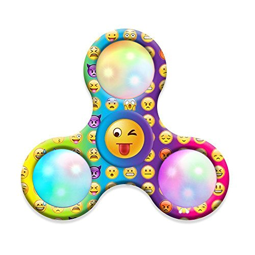 Kingko® New Emoji Smiling Face Printed Fidget Hand Spinner LED Light Tri-Fidget Desk Focus Creative Birthday Gift Old People Kids Toy (A)