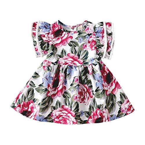 Sommer-Kostüm mit Blumenmuster und Strapshemden, Freizeitkleid, modisch, für Kinder, Baumwolle Gr. 120 cm, Big Purple ()