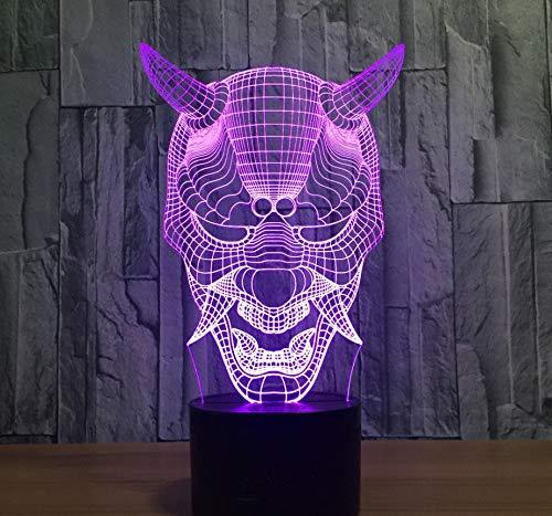 3D Illusion Light Luz Nocturna Fantasma De Halloween Lámpara De Ilusión Visual 3D Acrílico Transparente Luz De Noche Led De Hada Lampa Cambio De Color Mesa Táctil Abultamiento Lamba