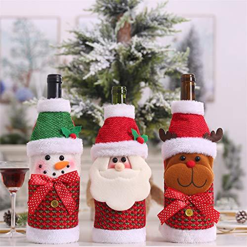 Für Claus Verkauf Santa Kostüm - Santa Claus Kleidung, Chshe TM, Cartoon Mini Weihnachtsschmuck KostüM Prop Pullover Weinflaschen Sets Santa Claus Bottle Dress Up(C)