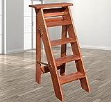 Cylficl 5 Etagen Haushaltsleiter Massive Klappleiter Holzleiter Verstärkung Fünf-Stufen-Leiter Kleiner Leiter Dachboden-Leiter Regal C