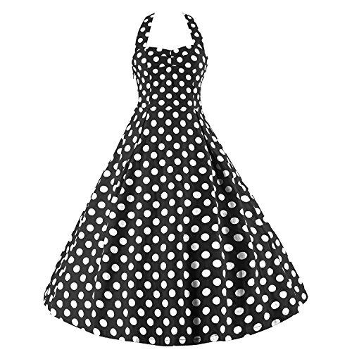 LUOUSE Robe de Bal/Soir饠Licou Vintage ann饠40 50 60 avec des Points Polka - Noir - Medium