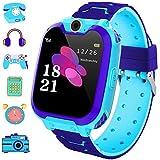 bhdlovely Game Smart Reloj para Niños con Pantalla Táctil Cámara Juegos Grabación de Música Calculadora Juguete de Aprendizaje para Niña y Niño(Azul)