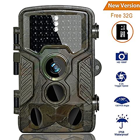 HD Trail Camera BestoU 16MP 1080P Wildlife Camera Infrared Game&Hunting Camera with 46 Pcs low glow IR LEDs Night Version up to 20M/65FT Scouting Camera with IP66 Spray Waterproof 130° Wide Angle Lens 120°