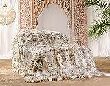 Wohnen & Accessoire Felldecke, Kuscheldecke und Tagesdecke aus Kunstfell Schneeleopard, auch als Kissen und Wärmflasche (Tagesdecke 220x240cm)