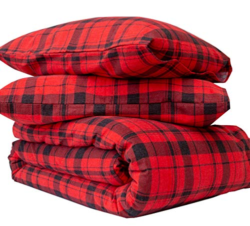 Friends at Home Bettwäsche-Set für Queen, 100% Baumwolle, weich, hypoallergen, bequem, flauschig, Hotel-Collection, schweres Flanellgewebe, kariert, Rot/Schwarz