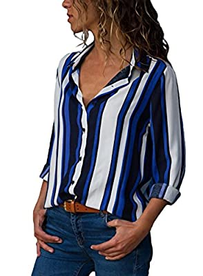 The Aron ONE Women's Casual Long Sleeve V Neck Stripes Chiffon T-Shirt Button Down Blouse Top