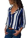 The Aron ONE Tee-Shirt Femme Casual Manches Longues à Col en V à Rayures à Mousseline Bouton Chemisier Haut (Bleu, Medium)