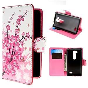 Per LG L Fino (D290N / D295) , ivencase 37 Portafoglio Plum Fiore Stile PU Pelle Shell Buckle Stare Folio Protettivo Skin Cover Per LG L Fino (D290N / D295)