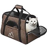 Terra Hiker Hundetasche, Hundetragetasche, Katzentragetasche, Tragetasche Transporttasche Transportbox für Kleine Hunde und Katzen, 3-5 KG (Braun)