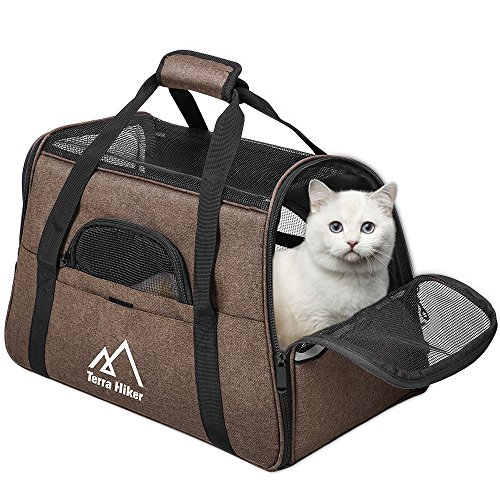 Terra Hiker Katzentragetasche, Katzentransporttasche, Tragetasche Transportbox für Hunde und Katzen (Braun, 5-8 KG)