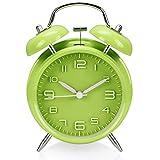 Sveglia a doppia campana, Aodoor sveglia metallo luce notturna, segnale d'allarme a volume elevato, meccanismo al quarzo, 4 pollici Grande Quadrante, funzionamento silenzioso e stile vintage (Verde di frutta)