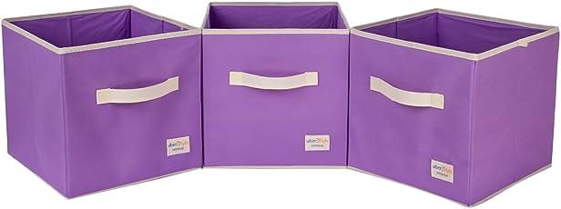 Uberlyfe Light Purple 3pc Kids Toy Storage Box (KSB-1683-CUB-LTPU3PC)