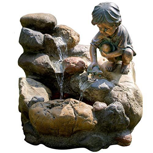 KÖHKO® Wasserspiel Kinderspiel mit LED-Beleuchtung Gartenbrunnen Springbrunnen Brunnen für Außen und Innen