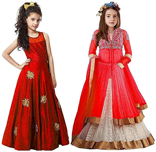 Market Magic World Girl's Red & Red Banglori, Net Semi Stitched Combo...