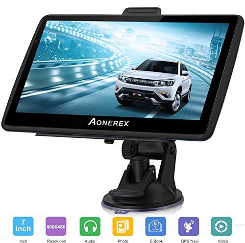 Aonerex Navigation für Auto 7 Zoll Touchscreen 8GB GPS Navi Navigationsgerät mit POI Sprachführung Fahrspurassistent LKW PKW KFZ mit Lebenszeit Kostenlose Kartenupdates 2019 Europa UK 52 Karten