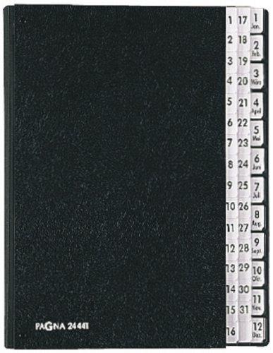 Pagna 24441-04 Pultordner 44-teilig schwarze Hartpappe, dehnb. Leinenrücken, schwarz 3 Schaulöcher, Tabe 1-31 + 1-12/Jan-Dez