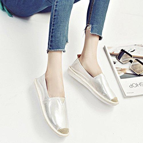 Damen Slipper Slip on Rundzehen Aushöhlen Weich Atmungsaktiv Flach Strapazierfähig Lässig Bequem Freizeit Schuhe Silber