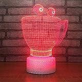 3D Lampara Led Luz Ilusión óptica Botón táctil color o 7 colores cambiar gradualmente Decoración del dormitorio del bebé regalo del día de San Valentín sueño asistido Taza de dibujos animados