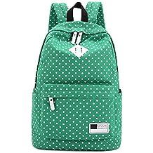 Tongshi Hombro de la lona Mochila Polka Dot Escuela recorrido del bolso Mochilas (Verde)