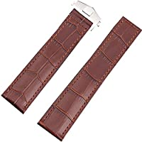 22mm Genuine Brown Leather Watch Strap Clasp Watch Band