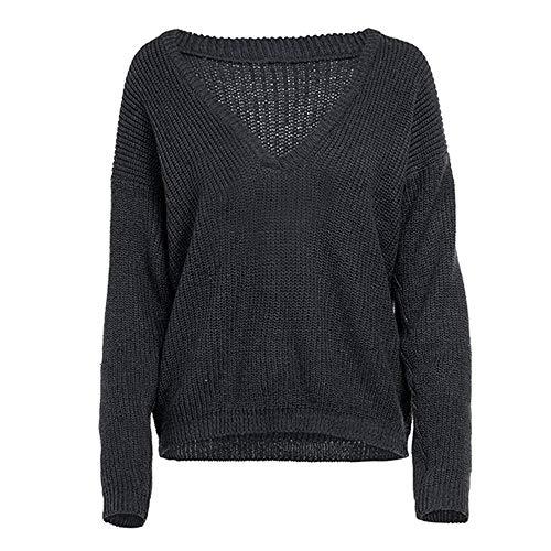 Briskorry Herbst Pullover Damen Tiefes V-Ausschnitt Beiläufige Strickjacke -