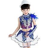 Wgwioo Paillettes Per Bambini Jazz Ragazze Moderne Hip-Hop Dance Performance Costumi Cheerleading Squadra Gruppo Coro , Blue , 120Cm