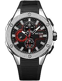 d848c50c155d MEGIR - Reloj Análogico de Cuarzo Impermeable para Hombre Correa de  Silicona 3 Sub-dial