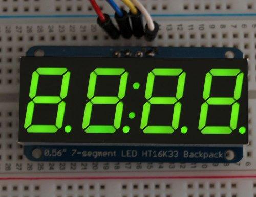 Adafruit 4cifre 7segmenti Display con I2C Back Pack per Arduino-Verde